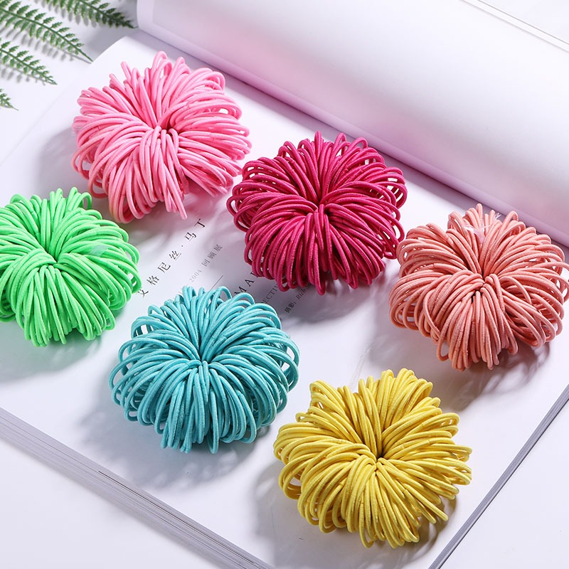 Elastic Nylon Hairbands 100 pcs Set