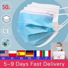 50pcs Disposable Mouth Face Mask Anti-Dust 3 Layer Mouth Masks  Anti Flu PM2.5 Breathable Masks Face Care Elastic Earloop
