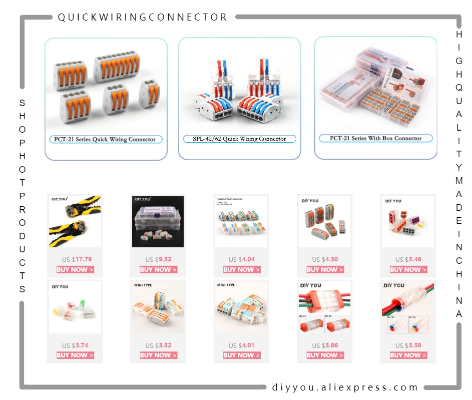 30/50/100pcs Universal Cable wire Connectors 222 TYPE Fast Home Compact wire Connection push in Wiring Terminal Block PCT-212